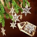 Vánoèní set - døevìných ozdob - hvìzdy 8 druhù + krabièka