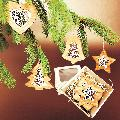 Vánoèní set - døevìných ozdob - vklad ornament - 4 druhy + krabièka