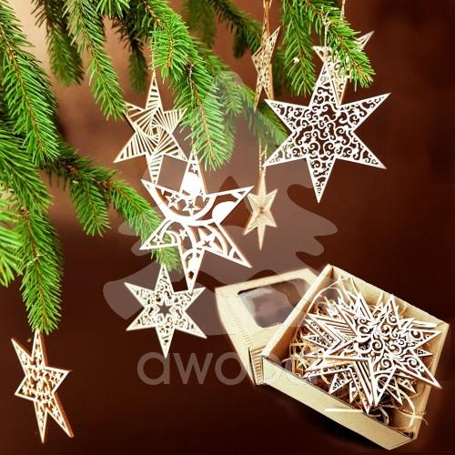 Fotografie Vánoèní set - døevìných ozdob - hvìzdy 8 druhù + krabièka