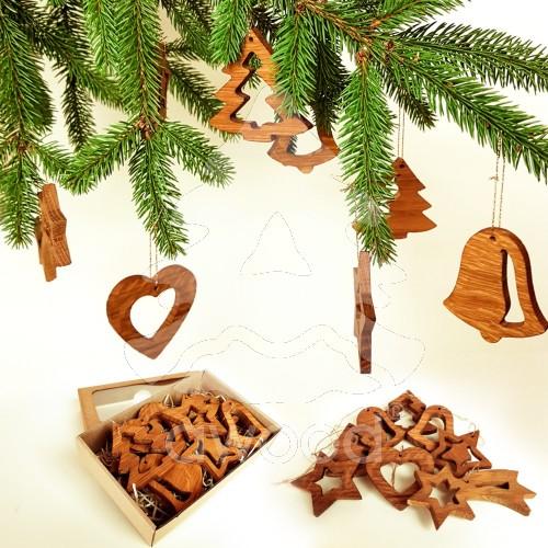 Fotografie Vánoèní set - døevìných ozdob 8 druhù + krabièka