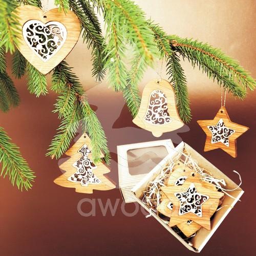 Fotografie Vánoèní set - døevìných ozdob - vklad ornament - 4 druhy + krabièka